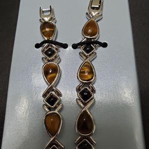 Avon Jewelry - Avon silver tone tiger's eye & onyx watch set
